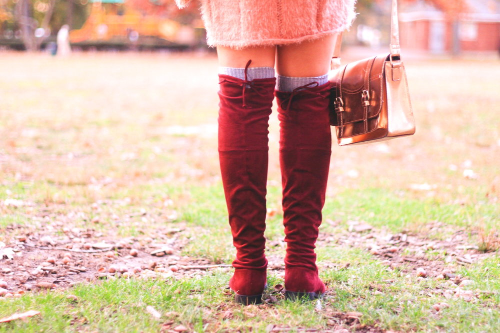 An over the knee boots style guide: Everything you need to know before investing in a pair of over the knee boots. Over the knee boot buying guide, boot buying guide, budgeting, blogger on a budget, fashion blogger, fashion blog, over the knee boots, burgundy over the knee boots, stuart weitzman dupe, stuart weitzman look for less, bloomingdales, burlington, metallic, rose gold, pink, fuzzy sweater dress, sweater dress, pink sweater dress, over the knee boots style guide, style guide, over the knee socks