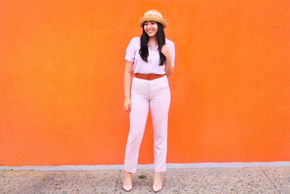 Pink, monochromatic, chunky belt, pink on pink, straw hat, Forever 21, TJ Maxx, Burlington, Burlington Coat Factory, Zara, girl, outfits, ootd, easy outfit ideas, spring, spring outfit ideas.